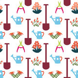 Pattern with Gardening Equipment Royalty Free Stock Photos