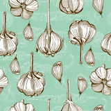 Pattern with garlic Royalty Free Stock Images