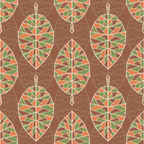 Pattern with geometric leafs Stock Photos