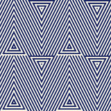 Pattern with geometric ornament. Striped navy blue abstract background. Repeated triangles wallpaper. Royalty Free Stock Photo