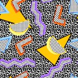 Pattern geometric 80s. Seamless pattern of geometric shapes in bright colors, with colored shadow, black stroke, filled with dots, on a background of lines in royalty free illustration