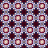 Pattern with geometric shapes and floral elements stock illustration