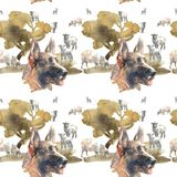 Pattern - German Shepherd Dog. And sheeps Royalty Free Stock Photography