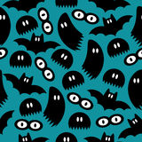 Pattern with ghosts and bats Royalty Free Stock Image