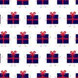 Pattern with gift box characters Royalty Free Stock Photos