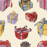 Pattern of the gift boxes Stock Image