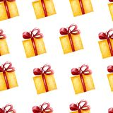 Pattern of Gift sketches boxes. yellow boxes with red ribon.seamless pattern on white background. vector illustration