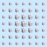 Pattern of 49 gift white paper boxes on light blue background stock image