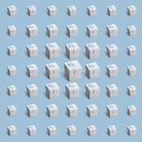Pattern of 49 gift white paper boxes on pale blue background stock images