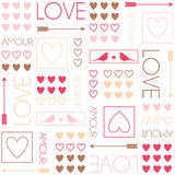 Pattern for gift wrapping. Birds and hearts. Romantic seamless vector pattern for Valentine's Day or wedding. Stock Photography