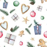 Pattern with gifts. Watercolor Christmas seamless pattern with traditional decor and elements.Conifer branches, cones, stars, gingerbread hearts and gingerbread Royalty Free Stock Photos