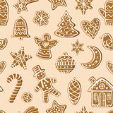 Pattern with gingerbread figures Royalty Free Stock Images