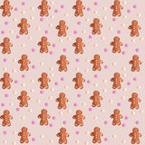 Pattern with gingerbreads Stock Photo
