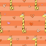 Pattern with giraffes. Vector seamless pattern with cute cartoon giraffes in love and hearts on  striped background Stock Images