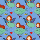 Pattern with girl Sirin and mermaid. Royalty Free Stock Images