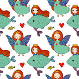 Pattern with girl Sirin and mermaid. Royalty Free Stock Image