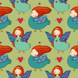 Pattern with girl Sirin. Royalty Free Stock Photography