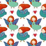 Pattern with girl Sirin. Royalty Free Stock Images
