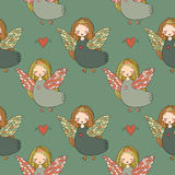 Pattern with girl Sirin. Royalty Free Stock Photos