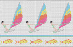 Pattern with the girl on surfing and fishes. On a white background Stock Illustration