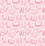 Pattern for girls with books, papers and hearts Stock Images