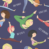 Pattern with girls doing yoga. Royalty Free Stock Photography