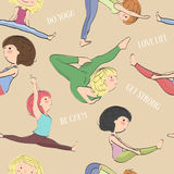 Pattern with girls doing yoga. Stock Photo