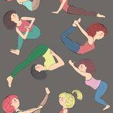 Pattern with girls doing yoga. Royalty Free Stock Image
