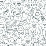 Girls` joys. Pattern. Pattern for girls and girls. Decorative print with women`s things stock illustration