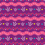 Pattern for girls PRINCESS with crown. The pattern for girls romantic and royal princesses Royalty Free Stock Photography
