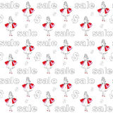 Pattern with girls Royalty Free Stock Photo