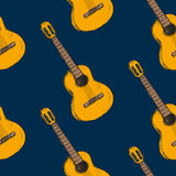 Pattern with gitars on it Stock Images