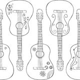 Pattern with gitars on it Royalty Free Stock Photography