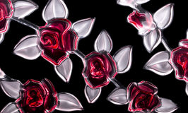 The pattern of the glass flowers on a black background.  Stock Images
