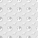 Pattern with globe and airplane. Royalty Free Stock Photography