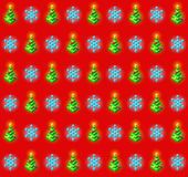 Pattern with glowing christmas trees and. Seamless pattern with glowing christmas trees with baubles and snowflakes Royalty Free Stock Photos