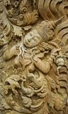Pattern of god carved on wood Royalty Free Stock Images