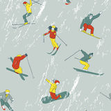 The pattern of going down the hill skiers and snow Royalty Free Stock Image