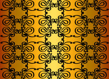 Pattern on a gold background. Black pattern on a shimmering gold background Royalty Free Stock Photos