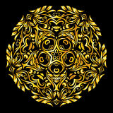 Pattern gold. Circle  gold element similar a flower on black background Royalty Free Stock Photography