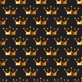 Pattern gold crown on a dark background eps 10  illustrati Stock Image