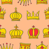 Pattern of gold crown style collection Royalty Free Stock Image