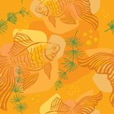 Pattern with gold fish Royalty Free Stock Photo