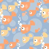 Pattern with gold fish. Seamless vector pattern with gold fish under water with bubbles Royalty Free Stock Images