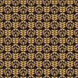 Pattern with gold flower on black background Royalty Free Stock Photos