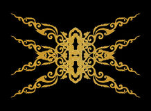 Pattern of gold metal frame carve flower on black background Stock Photos