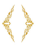 Pattern of gold metal frame carve flower on white background Stock Photos