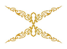 Pattern of gold metal frame carve flower on white background Stock Image