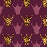 Pattern with golden glittering stock illustration