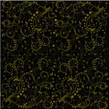 Pattern with golden leaves, abstract swirls, flowers and heart Stock Photo